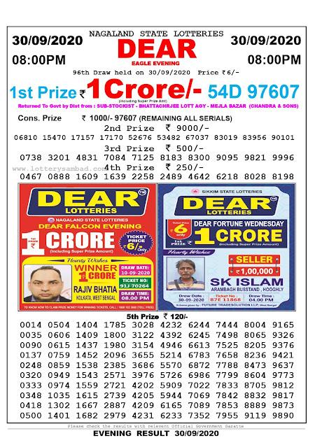 Lottery Sambad Today 30.09.2020 Dear Eagle Evening 8:00 pm