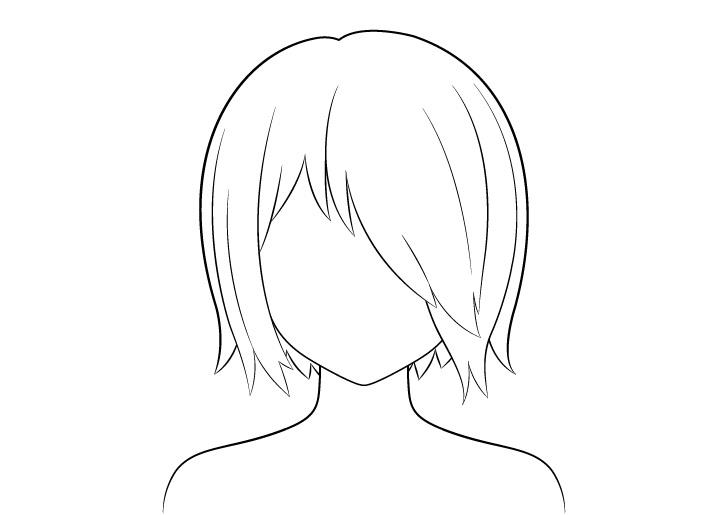 Rambut anime di atas gambar garis satu mata