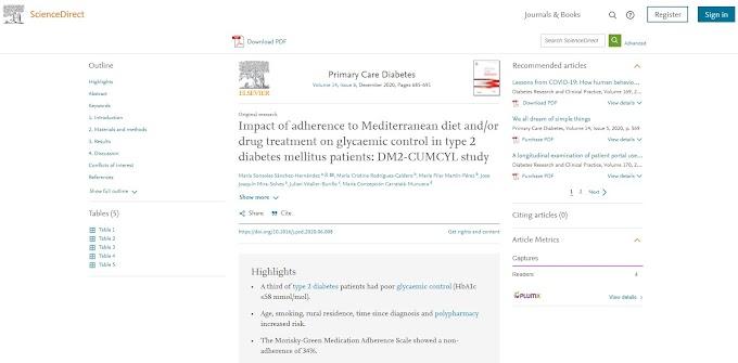 Impacto de la adherencia a la dieta mediterránea y/o el tratamiento farmacológico en el control glucémico en pacientes con diabetes mellitus tipo 2: estudio DM2-CUMCYL