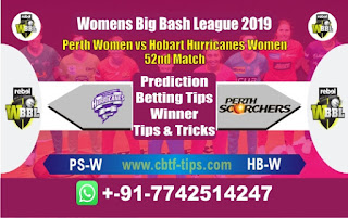 Who will win Today WBBL 2019, 52nd Match Hobart vs Perth - Cricfrog