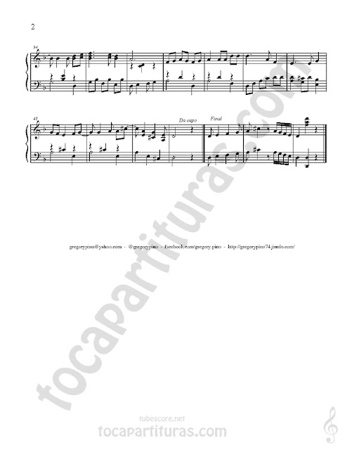 2 Partitura de Piano Caballo Viejo Partituras para Pianistas pinchando aquí Old Hourse Sheet Music for Piano by Simon Díaz