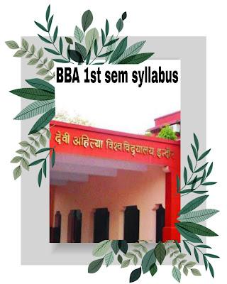 davv BBA  First Semester Curriculum syllabus (Full Time)