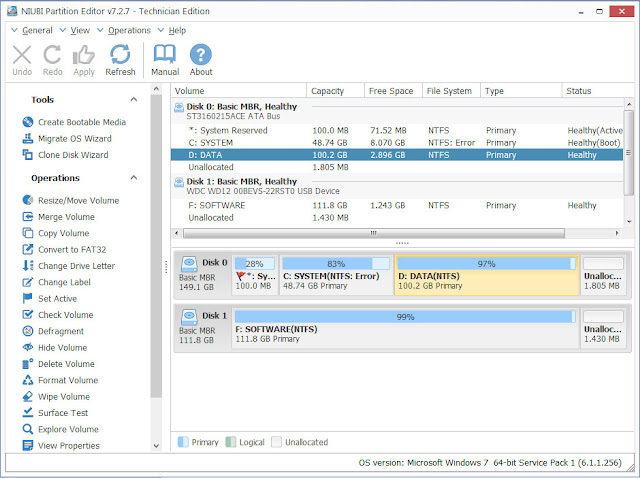 Screenshot NIUBI Partition Editor 7.2.7 Full Version