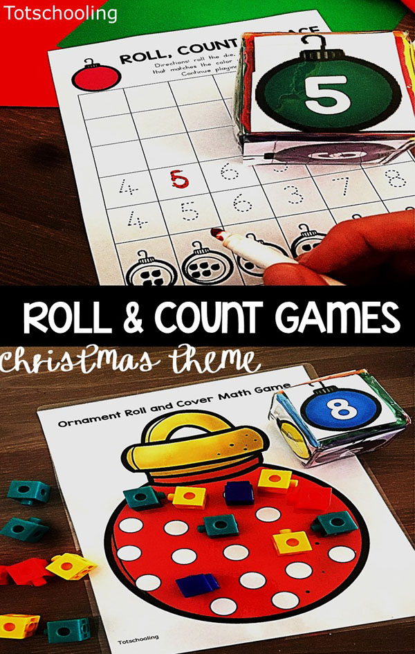 FREE printable roll & count games for preschoolers featuring a Christmas ornament theme. Practice number recognition, counting, tracing and one-to-one correspondence. Great for a preschool math center!