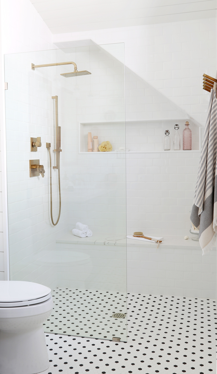 Walk-in shower  with Delta Vero shower head