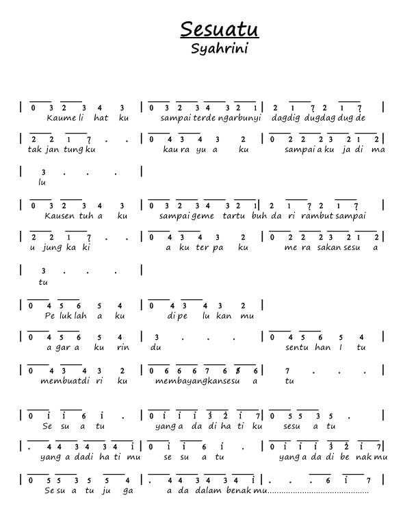 Not Angka Pianika Lagu Sesuatu - Syahrini