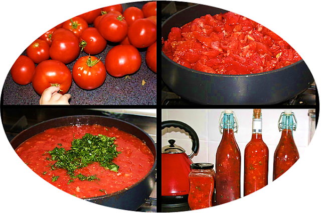 Sauce made from home grown organic tomatoes.