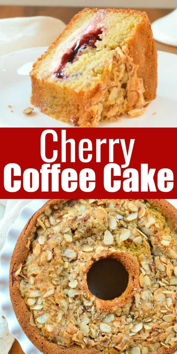 Cherry Coffee Cake recipe with a cream cheese cherry filling with almond sugar crust is a favorite for brunch or breakfast from Serena Bakes Simply From Scratch.