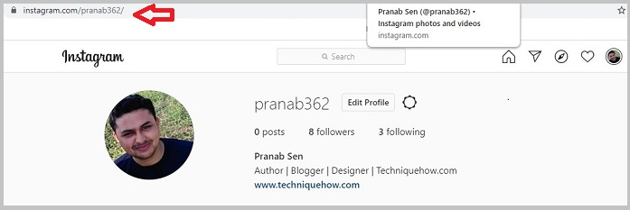 Find Instagram profile link on PC