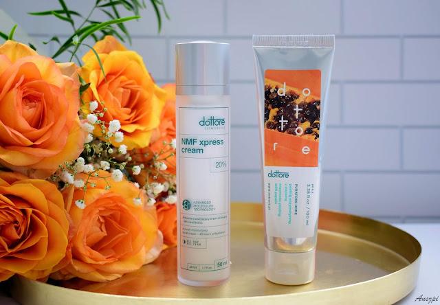 Pielęgnacja twarzy kosmetykami Dottore: peeling enzymatyczny Puratore Home i nawilżający krem NMF Xpress Cream