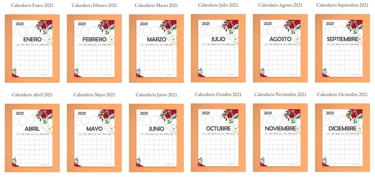 ▷ Calendario Mensual 2021 para Imprimir ⊛|||【 GRATIS 】|||⊛