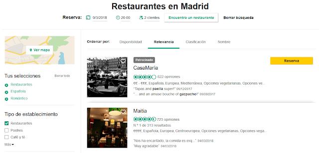 Buscar un restaurante barato en Madrid y romántico