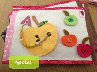 soft book pour enfants avec pomme en feutrine