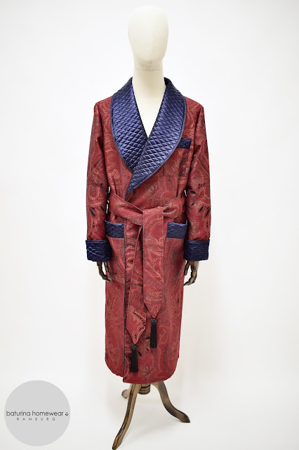 mens red paisley robe quilted silk dressing gown cotton jacquard long warm smoking jacket
