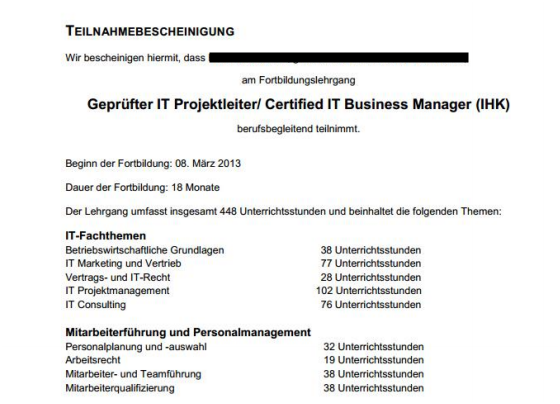 Anerkennung IT Business Manager (IHK)