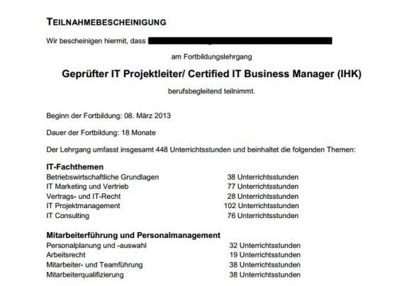 Anerkennung IT Business Manager (IHK)