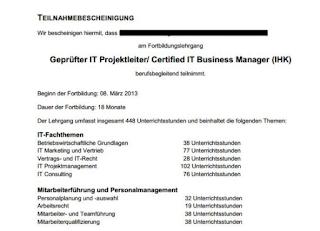 IT Business Mnager Teilnahmebescheinigung