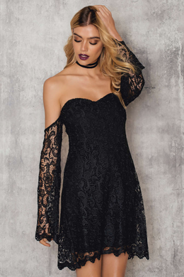 NA-KD, off shoulder, dress, black, lace, online shop, fashion,