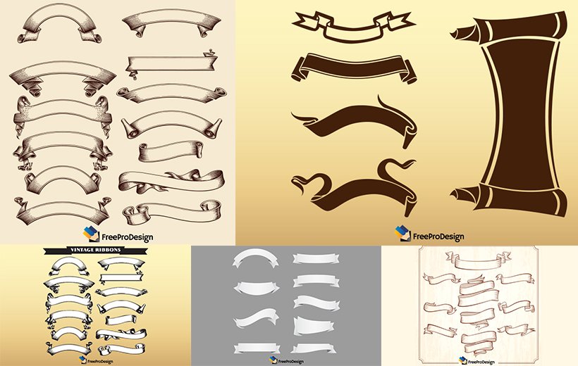 Free Vector Ribbon Collection, Free Vector