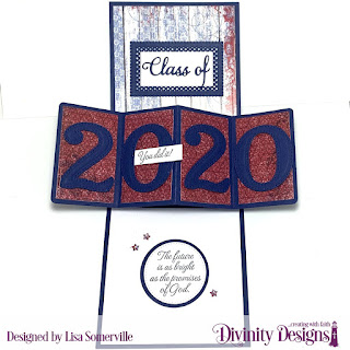 Stamp Set: The Future Custom Dies: A2 Portrait Card with Layer, Matting Rectangle, Pierced Circles, Circles, Sentiment Strips, Pierced Rectangles, Lavish Layers, Sparkling Stars, Large Numbers, Grad Paper Collection: Old Glory Other: Crystal Rhinestones