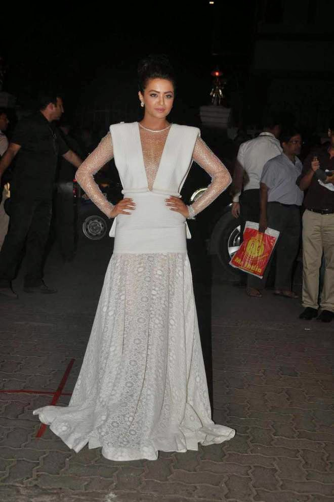 Surveen Chawla in a mesmerizing white deep v neck gown