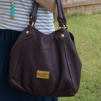 grey striped tee, Marc By Marc Jacobs Classic Q Fran bag with gold hardware in carob brown | away from the blue