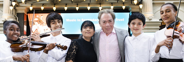 Andrew Lloyd Webber (Lord Lloyd-Webber) with MiSST students (Photo Ben Ealovega)