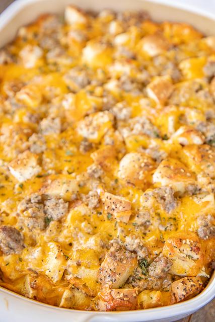 baked breakfast casserole in baking dish