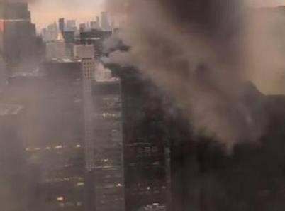 Trump Tower on fire after electrical box overheats on the roof of the building, firefighters trying to put out the blaze in midtown Manhattan