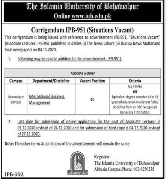 islamia-university-of-bahawalpur-iub-jobs-2020-apply-online