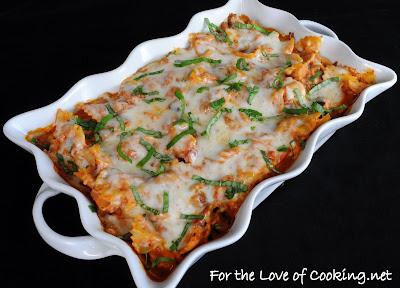 Turkey Italian Sausage, Mushroom, Marinara, and Ricotta Pasta Bake