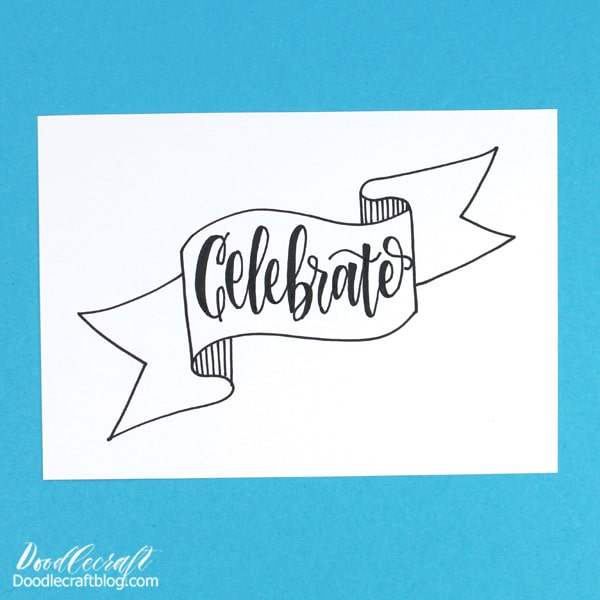 This line art banner doodle is Perfect for hand lettering, card making and journaling!