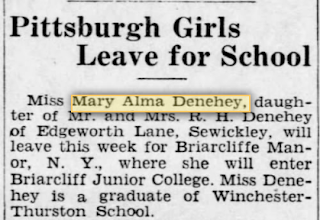Mary Alma Denehey Briarcliffe annoucement Pittsburgh Press 1937