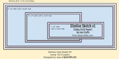Card Sketch for Slimline from 12x12 One Sheet Wonder Template #1 by Jess Crafts