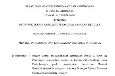 Permendikbud Nomor 8 Tahun 2020 Juknis BOS Reguler Final