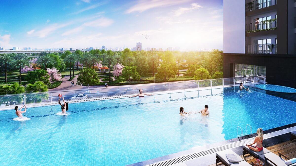 Bể bơi ngoài trời tại số 1 Trần Thủ Độ