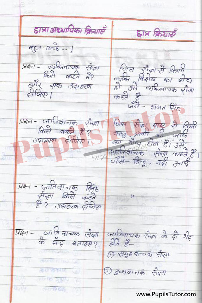 Hindi Grammar Sangya Lesson Plan in Hindi on Prashan Kaushal for B.Ed First Year - Second Year - DE.LE.D - DED - M.Ed - NIOS - BTC - BSTC - CBSE - NCERT Download PDF for FREE