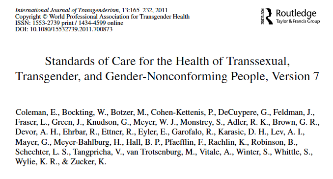 Standards of care for the health of transsexual