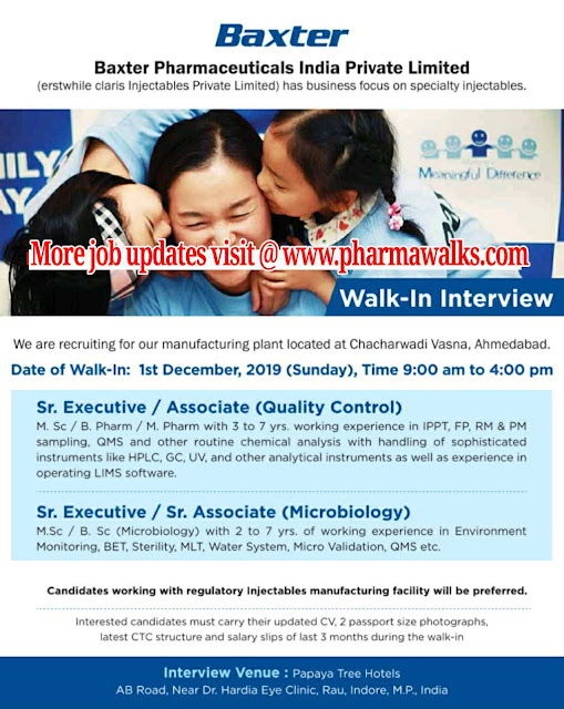 Baxter Pharma walk-in interview for QC & Microbiology on 1st Dec' 2019