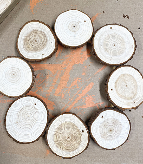 wood slices in a circle