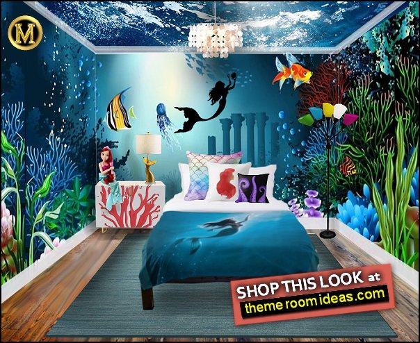 Under the sea wallpaper mural  mermaid pillows ariel bedding mermaid bedding mermaid lamp