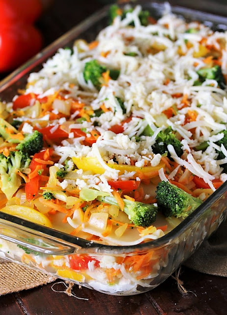 Vegetable Lasagna with Broccoli Topped with Shredded Cheese Image