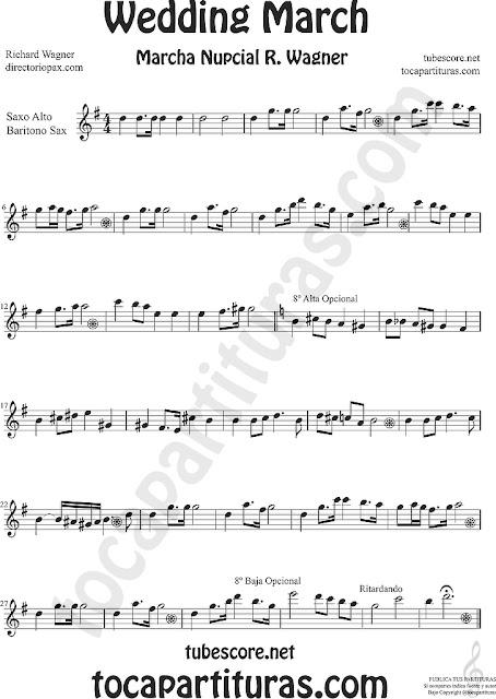 Saxofón Alto y Sax Barítono Partitura de La Marcha Nupcial de Wagner Sheet Music for Alto and Baritone Saxophone Music Scores