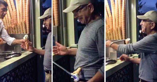 La gente se enloquece por este tipo que juega con el helado