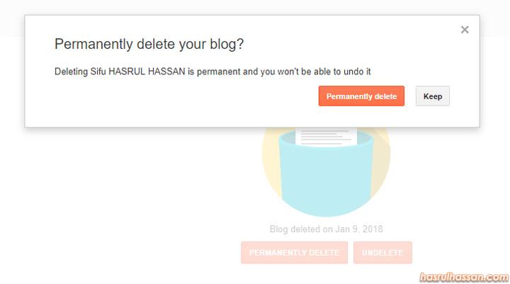Cara Padam Blog Secara Kekal
