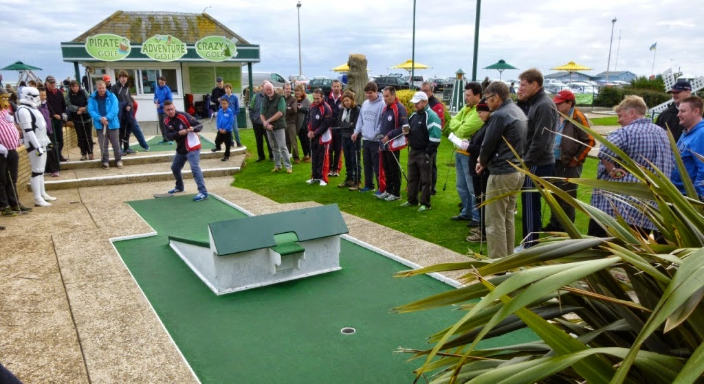 Minigolfer Richard Gottfried playing hole 2 during the Hole-in-One Charity Challenge at the 2014 World Crazy Golf Championships in Hastings