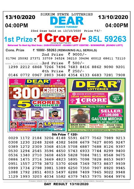 Lottery Sambad 13-10-2020, Lottery Sambad 4 pm results, Sikkim Lottery Results, Lottery Sambad Today Results Live, Day results