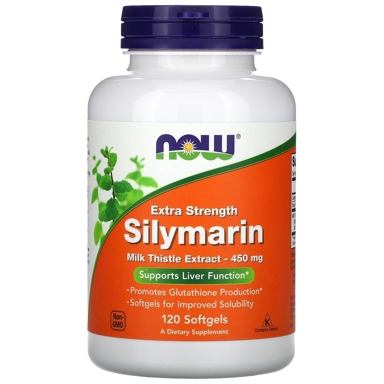 Now Foods, силимарин повышенной эффективности, 450 мг, 120 мягких таблеток