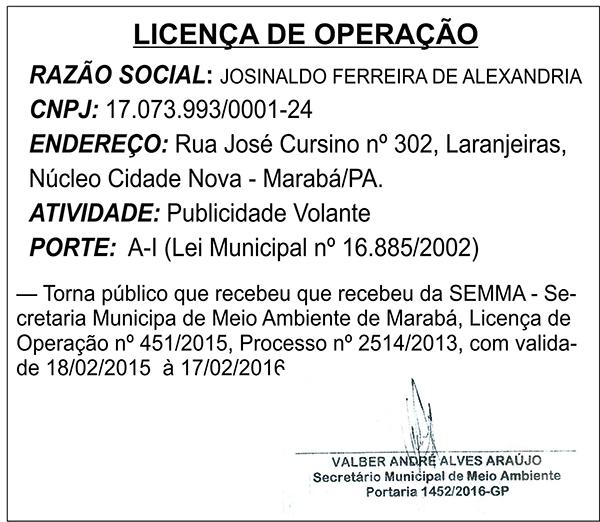 LICENÇA DE OPERAÇÃO - JOSINALDO FERREIRA ALEXANDRIA
