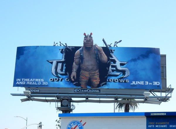 Ninja Turtles Out of the Shadows Rocksteady cut-out billboard